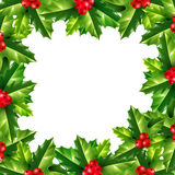 Vector holly Christmas rectangle frame. With white copyspace inside Stock Image