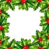 Vector holly Christmas rectangle frame Stock Image
