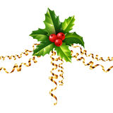 Vector holly Christmas symbol with golden serpentine on white background Stock Photos