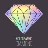 Vector holographic diamond stone isolated Royalty Free Stock Photography
