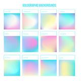 Vector Holographic set with gradients for your design. Colorful modern design template Royalty Free Stock Photo