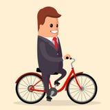 Vector, hombre de negocios en una bici Carácter feliz del encargado Foto de archivo libre de regalías