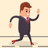 Vector, hombre de negocios feliz Carácter del encargado en los pcteres de ruedas Foto de archivo