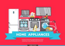Vector flat home appliance sale icon set Stock Images