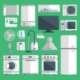 Vector home appliances isolated on background illustration of kitchen equipment refrigerator, home appliance domestic Royalty Free Stock Photography