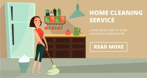 Vector home cleaning service concept banner. Vector home cleaning service horizontal banner. Charwoman washing flooring with wet mop, illustration in cartoon Stock Photos