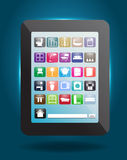 Vector home decoration icons buttons with tablet c Stock Image