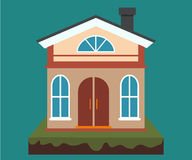 Vector home, house rental and real estate in flat cartoon style with house illustration Stock Photography