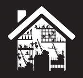 Vector home icon construction worker silhouette at Stock Photos