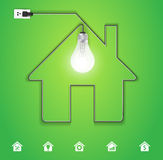 Vector home icon with creative light bulb Stock Images