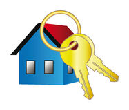 Vector home icon with key. 3d vector home icon with key for your web site design isolation over white background Royalty Free Stock Photo