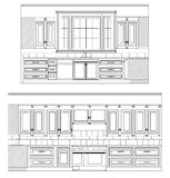 Vector Home Kitchen drawing Royalty Free Stock Images