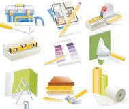 Vector home renovation and redesign icon set Stock Photos