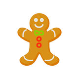 Vector of homemade gingerbread cookie isolated on white. Cartoon style. Cute funny christmas icon. illustration. Royalty Free Stock Image
