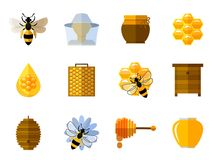 Vector honey and bee icons in flat set Stock Photography