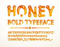Vector honey bold typeface. Letters A-Z, a-z, numbers and symbols. Eps8. RGB. Global colors Royalty Free Stock Images