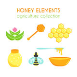 Vector honey illustration set. Bee design. Cartoon honeycomb. Flat agriculture collection. Stock Image