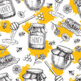 Vector honey seamless pattern. Vintage hand drawn background. stock illustration