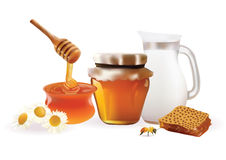 Vector Honey Set Realistic illustration. Jar,Bank, Bee, Honeycomb,Chamomile. Isolated On White Background Stock Images