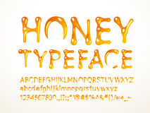 Vector honey typeface. Letters A-Z, a-z, numbers and symbols. Eps8. RGB. Global colors Royalty Free Stock Photography