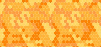 Vector Honeycomb Abstract Seamless Pattern, Orange and Yellow. vector illustration