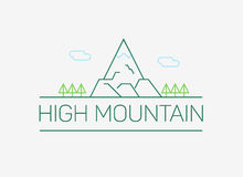 Vector hoog bergembleem en embleem in overzichtsstijl Stock Fotografie
