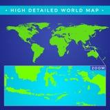 Vector hoog gedetailleerde wereldkaart Royalty-vrije Stock Afbeeldingen