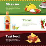 Vector horisontal banners set with Mexican traditional food Royalty Free Stock Photos