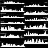 Vector horizon van de grootste steden van de V.S. Stock Foto
