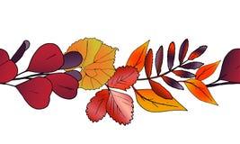 Vector horizontaal naadloos patroon van de herfstbladeren stock illustratie
