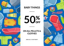 Vector horizontal baby clothes and accessories sale illustration. With vertical rectangle in center Royalty Free Stock Image