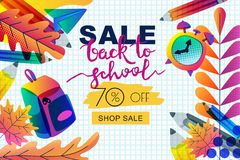 Vector back to school sale banner, poster template. Color gradients leaves, pencils, clock, backpack on paper background stock photos