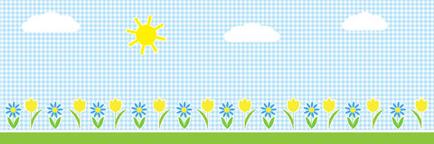 Vector  horizontal background with sun,clouds and flowers Stock Photos