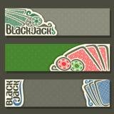 Vector horizontal Banner of Black Jack for text. Blue playing cards back for gamble game blackjack on green felt table, cover banner for black jack, in header stock illustration