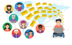 Email delivery worldwide Royalty Free Stock Images