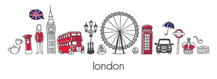 Vector horizontal banner design with famous symbols of London. Vector modern illustration London with hand drawn doodle british symbols. Horizontal panoramic royalty free illustration