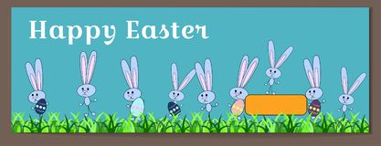 Vector horizontal banner for Happy Easter with painted eggs and bunnies. Rabbits hold eggs with a floral pattern. Ornament of the stock illustration