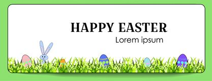 Vector horizontal banner for Happy Easter with painted eggs and bunny. Rabbit and eggs with a floral pattern. Decoration of green stock illustration