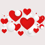 Vector horizontal banner with red hearts and 3d balls. Stock Photos