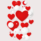 Vector horizontal banner with red hearts and 3d balls. Royalty Free Stock Images