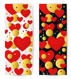 Vector horizontal banner with red hearts and 3d balls. Vector vertical banner with red hearts and 3d balls. Abstract background for Valentines party poster Stock Image