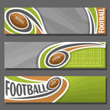 Vector horizontal Banners for American Football. 3 cartoon covers for title text on football theme, field with flying ball, numbers yard line, abstract header Royalty Free Stock Image