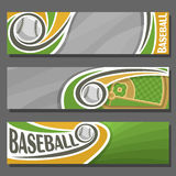 Vector horizontal Banners for Baseball. 3 cartoon covers for title text on baseball theme, sports field with diamond base and flying ball, abstract headers Royalty Free Stock Photography