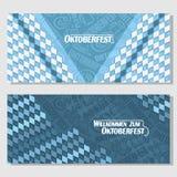Vector horizontal banners bavarian pattern oktoberfest Royalty Free Stock Photography