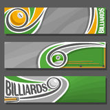 Vector horizontal Banners for Billiards. 3 cartoon covers for title text on snooker theme, billiards table, 1, 14 numbers, cue hit pool ball, abstract headers vector illustration