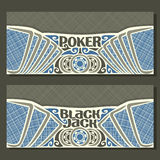 Vector horizontal banners for Black Jack and Poker Royalty Free Stock Photos