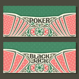 Vector horizontal banners for Black Jack and Poker Royalty Free Stock Photography