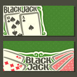 Vector horizontal banners of Black Jack for text. Combination playing card of ace spades ten 10 diamonds suits for gamble game on green felt blackjack table in stock illustration