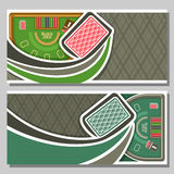 Vector horizontal banners of Black Jack for text. Flying playing back card for gambling game on green blackjack table with equipment in casino club, layout stock illustration