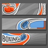 Vector horizontal Banners for Boxing. 3 cartoon covers for title text on boxing theme, sports ring with rope for fight, blue simple gloves, abstract headers Stock Photo